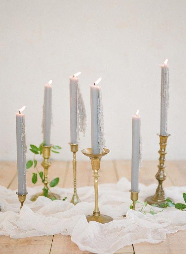 Gold und grau Hochzeit Dekoration Ideen mit Kerzen