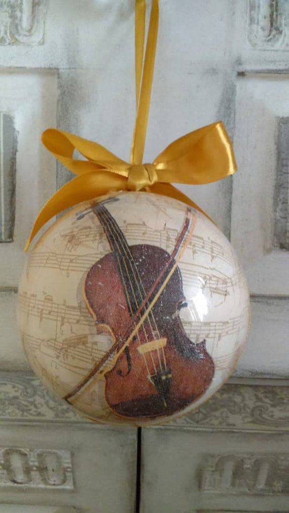 Violin Christmas bauble,Christmas decoration,Christmas ornaments,Fiddle,gift for the violinist,Music,gift for the composer,hand decorated