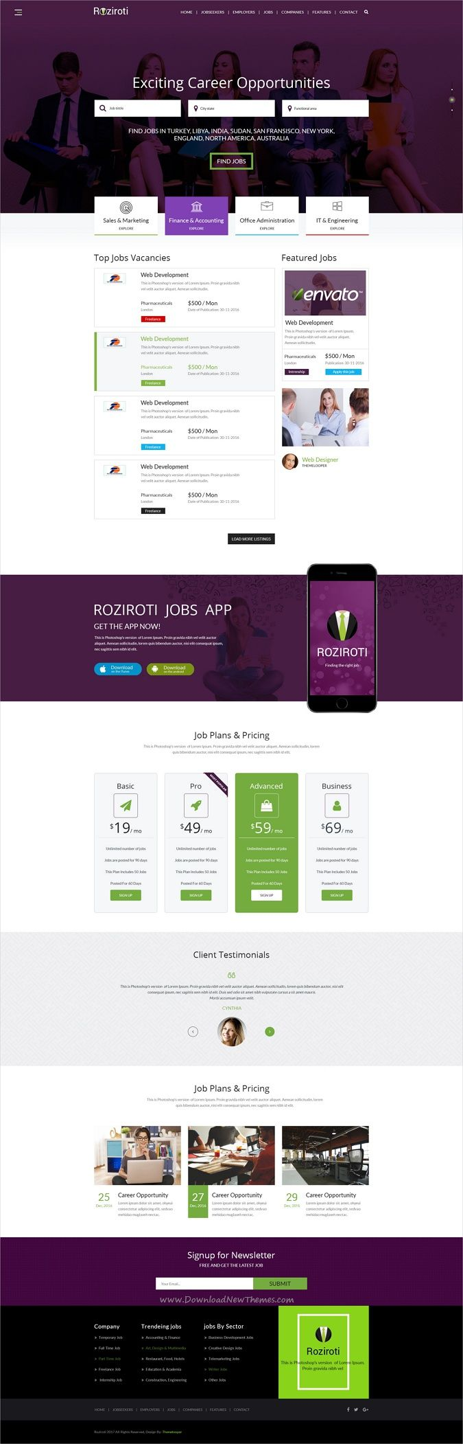 RoziRoti is professional #Photoshop template for #job #board portal websites download now➩  https://themeforest.net/item/rozi-roti-job-board-psd-template/19278986?ref=Datasata