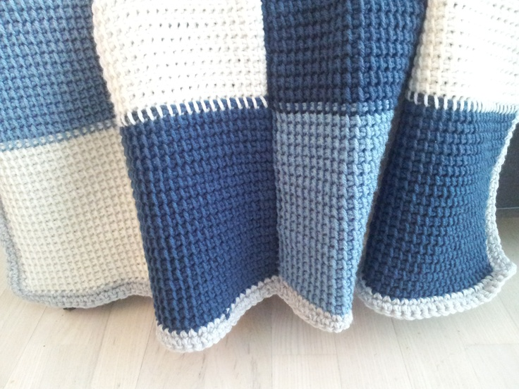Tunisian crochet throw - blocks of coloured squares