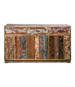 Vintage Colore Dressoir Kast van kleurrijk geschilderd, verouderd teakhout met als indeling drie lades en drie kastruimtes.