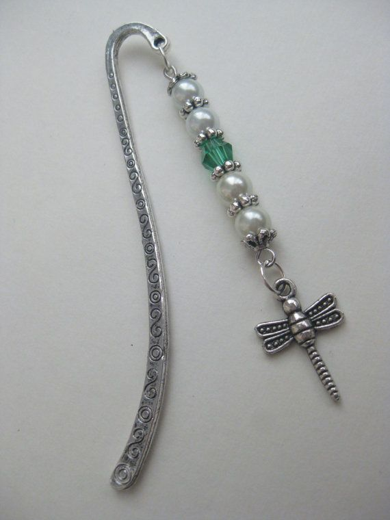 Dragonfly beaded bookmark Beaded bookmark Swarovski by HVart, $8.95