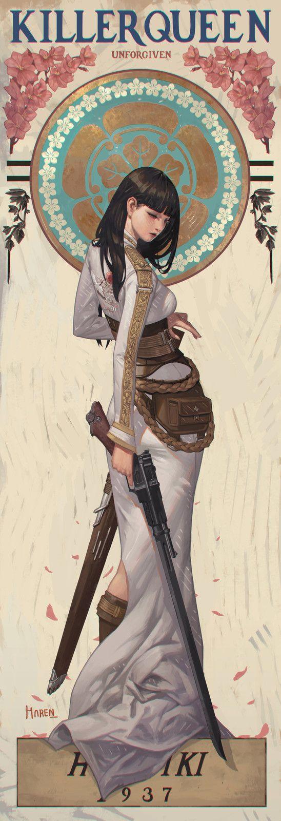 Study - Japanese Pattern + Sukajan Jumper + Kimono, Kim Han seul (aka Haren) on ArtStation at https://www.artstation.com/artwork/OJzzv