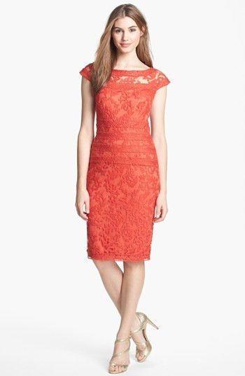 ed6acf2c TADASHI SHOJI Orange Embroidered Lace Sheath Dress size 6 #3 NWT # TadashiShoji #Sheath #Formal