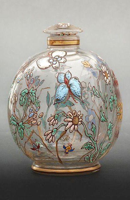 Antique Vintage Emile Gallé enameled glass scent perfume bottle with floral butterfly design