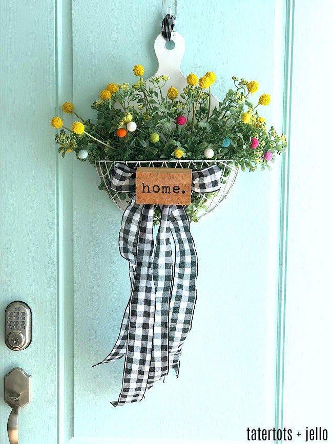 Spring Farmhouse Floral Pom Pom Wreath