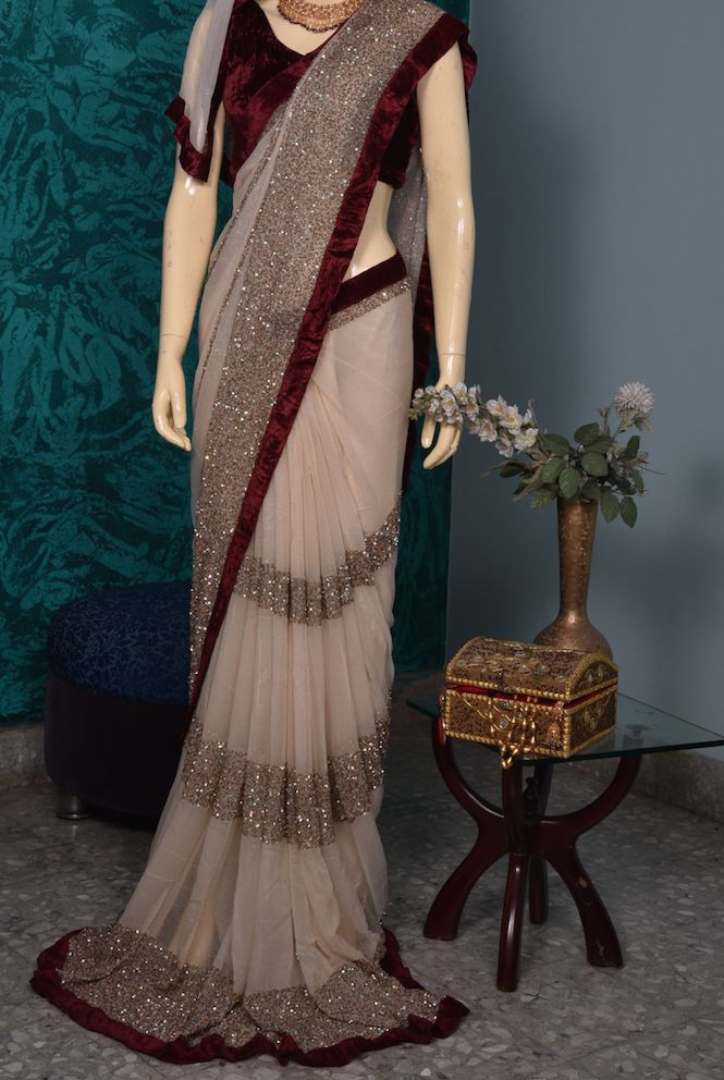 Gold Sequin Stripes Sari