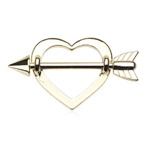 Set of Golden Cupid's Heart Nipple Shield Ring 14ga Surgical Steel Nipple Rings