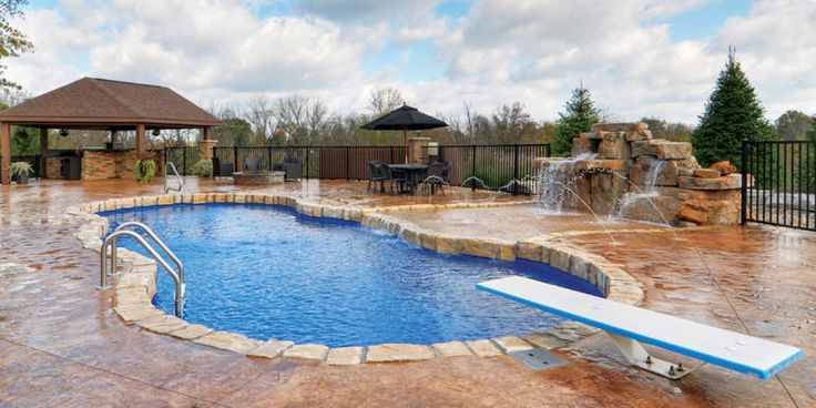 Versatile Residential Fiberglass Pool With Diving Board And Water Features Fiberglass Pools