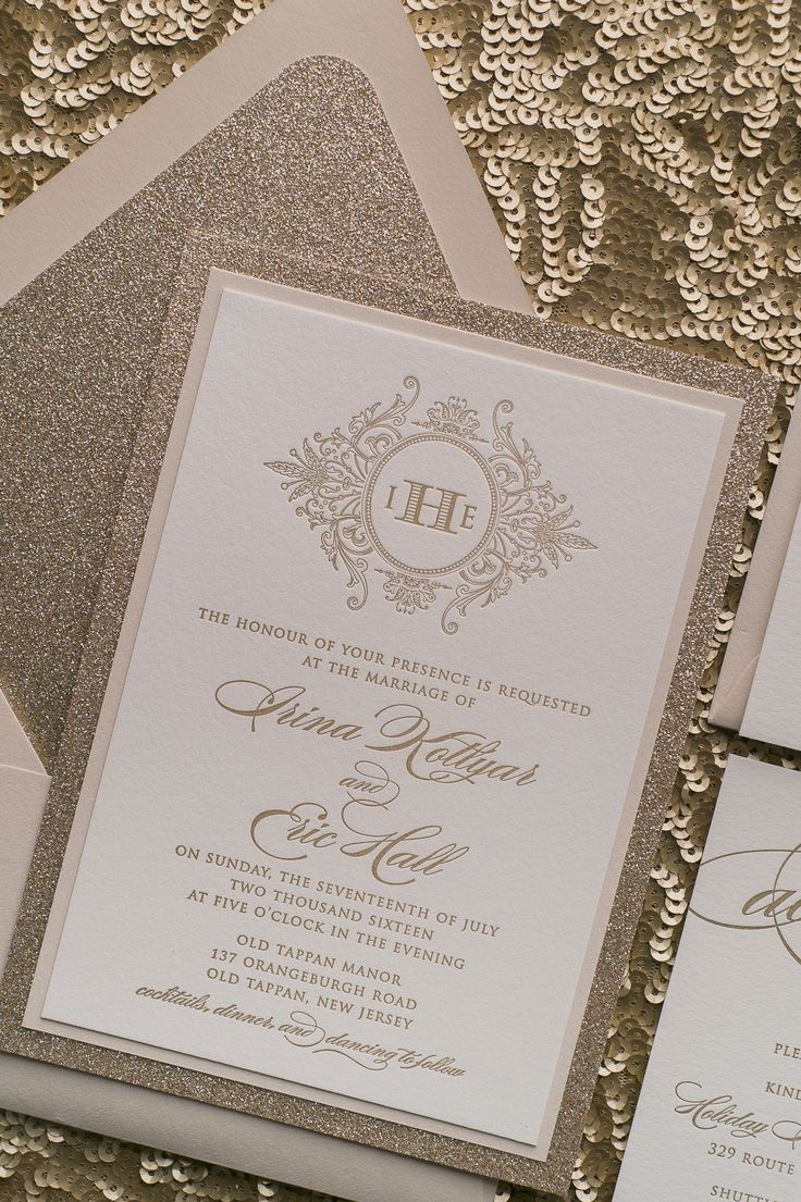 Real Wedding: Irina and Eric | Sophisticated with Sparkles! Champagne Letterpress Wedding Invitations | Champagne, Neutral, Gold, Glitter, Letterpress, Elegant, Wedding Invitations