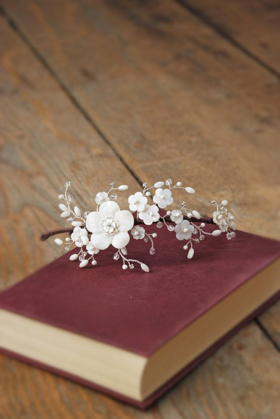 Edie Flower Bridal Headdress. Mother of pearl flowers and pearl & diamante flower hair vines on a wedding hair band.