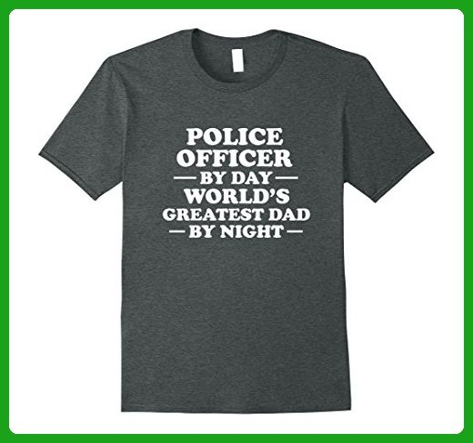Mens Police Officer - World's Greatest Dad Father's Day T-Shirt 3XL Dark Heather - Relatives and family shirts (*Amazon Partner-Link)