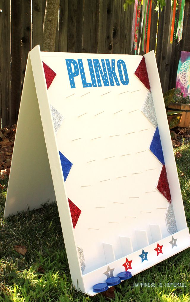 DIY Plinko Board - Made from foam board. This could be fun, but maybe something a little more permanent?