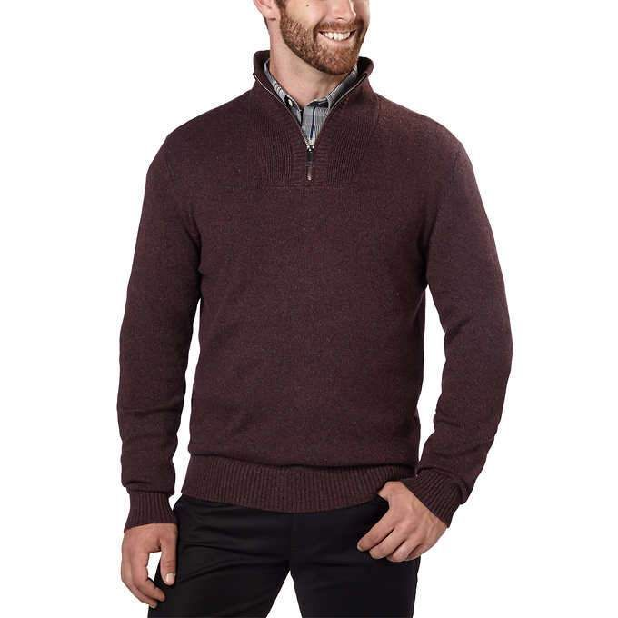 Calvin Klein Mens ¼ Zip Pullover Sweater (Pinot Grindle, X-Large)