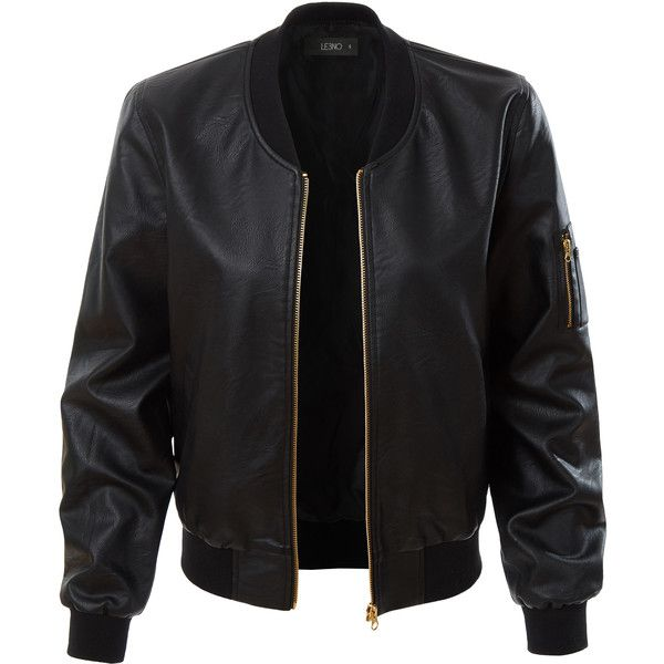 LE3NO Womens Lightweight Faux Leather Varsity Bomber Jacket ($27) ❤ liked on Polyvore featuring outerwear, jackets, varsity jacket, letterman jackets, college jacket, light weight jacket and bomber jacket