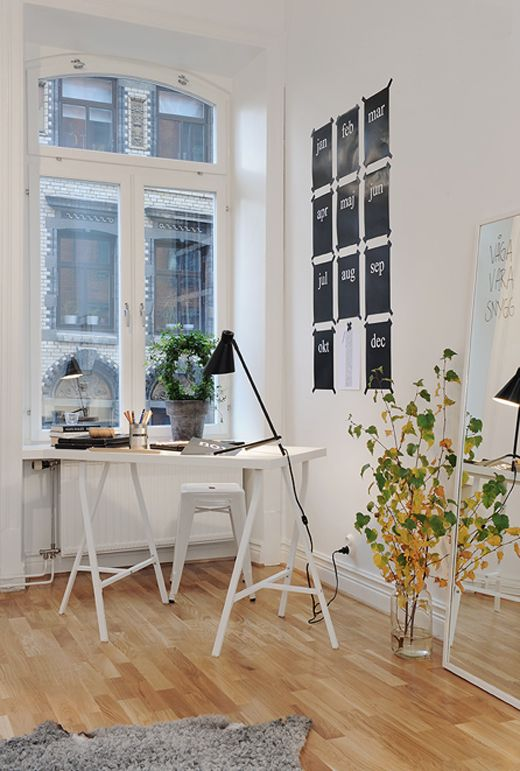 Small work space  using Ikea Vika Lerberg Legs: Idea, Home Office, Interiors, Work Spaces, Workspaces, Apartment, Desk