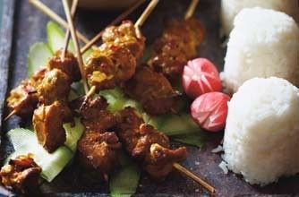 Mini Indonesian pork skewers A light and lovely meal - tender pork fillet marinaded in tasty spices, grilled and served with authentic Jasmine rice and a fresh radish and cucumber salad on the side