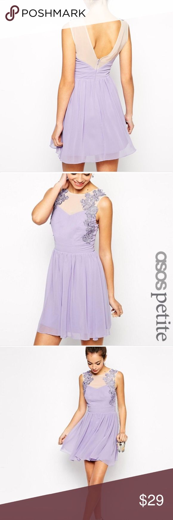 ASOS Petite Crochet Trim Chiffon Skater Dress Gorgeous Lavender shaded dress with beautiful Floral Lace Detail and Keyhole back. In excellent condition. Size US 8. ASOS Petite Dresses