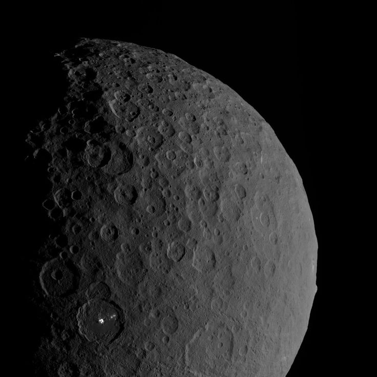 A view of Ceres taken by the Dawn spacecraft. Occator Crater is visible in the lower left.