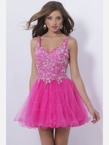 Straps Satin Beaded Short Homecoming Dress