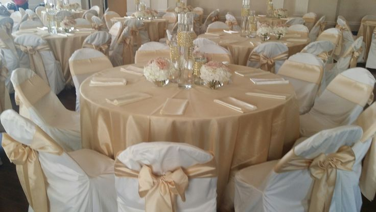 chair covers decorations best ball soft gold shantung tablecloths and sashes, ivory polyester custom covers, ...