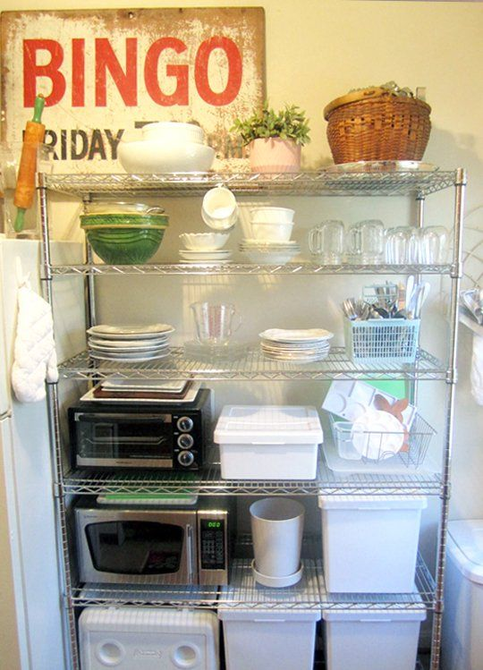 Small appliances can be kept on open metal shelving, as long as they stay away from the plastics!!!