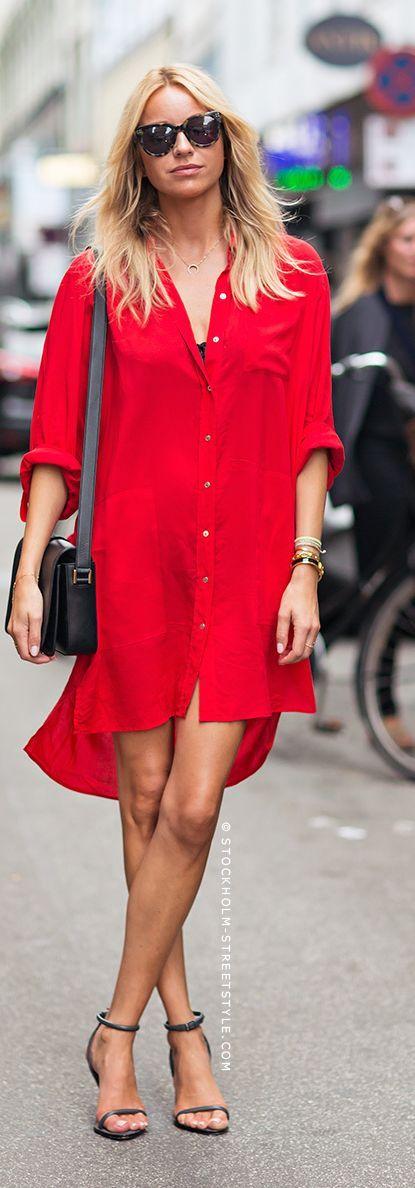 Emmy DE * Red Shirt Dress Streetstyle