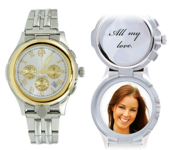 A wrist watch locket as a gift to the groom. A wedding day message plus a favorite picture of you.