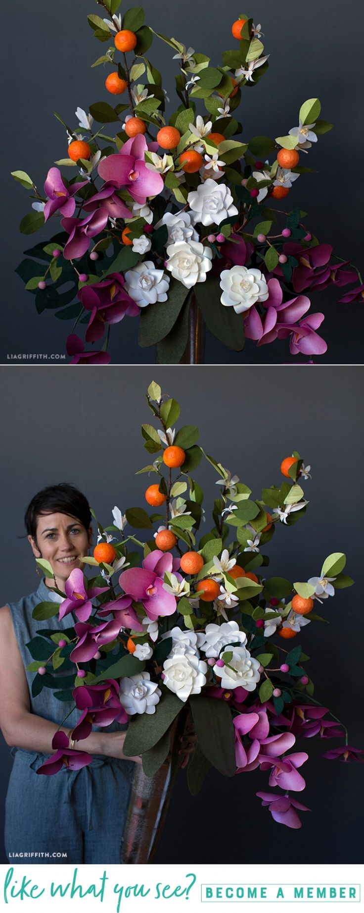 Southeastern Floral Bouquet - Lia Griffith - www.liagriffith.com #diyinspiration #cricutmade #cricutmaker #paperart #paperflower #paperflowers #madewithlia