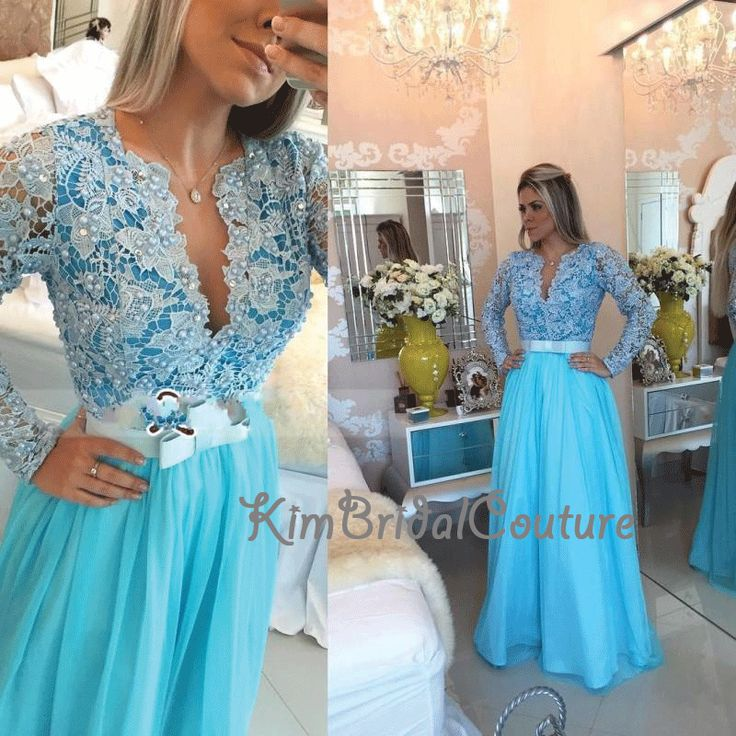 ==> [Free Shipping] Buy Best Cheap Graduation Dresses 2017 V Neck Lace Peals Beaded A Line Long Prom Dresses Sleeved Sky Blue Cheap Formal Dresses Online with LOWEST Price | 32715368903