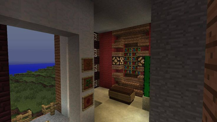 Modern MineCraft House Design: Jungle house with view of the meadows and also a complicated recessed bookcase design. Bench design is wool wrapped with wooden signs (no words on them).