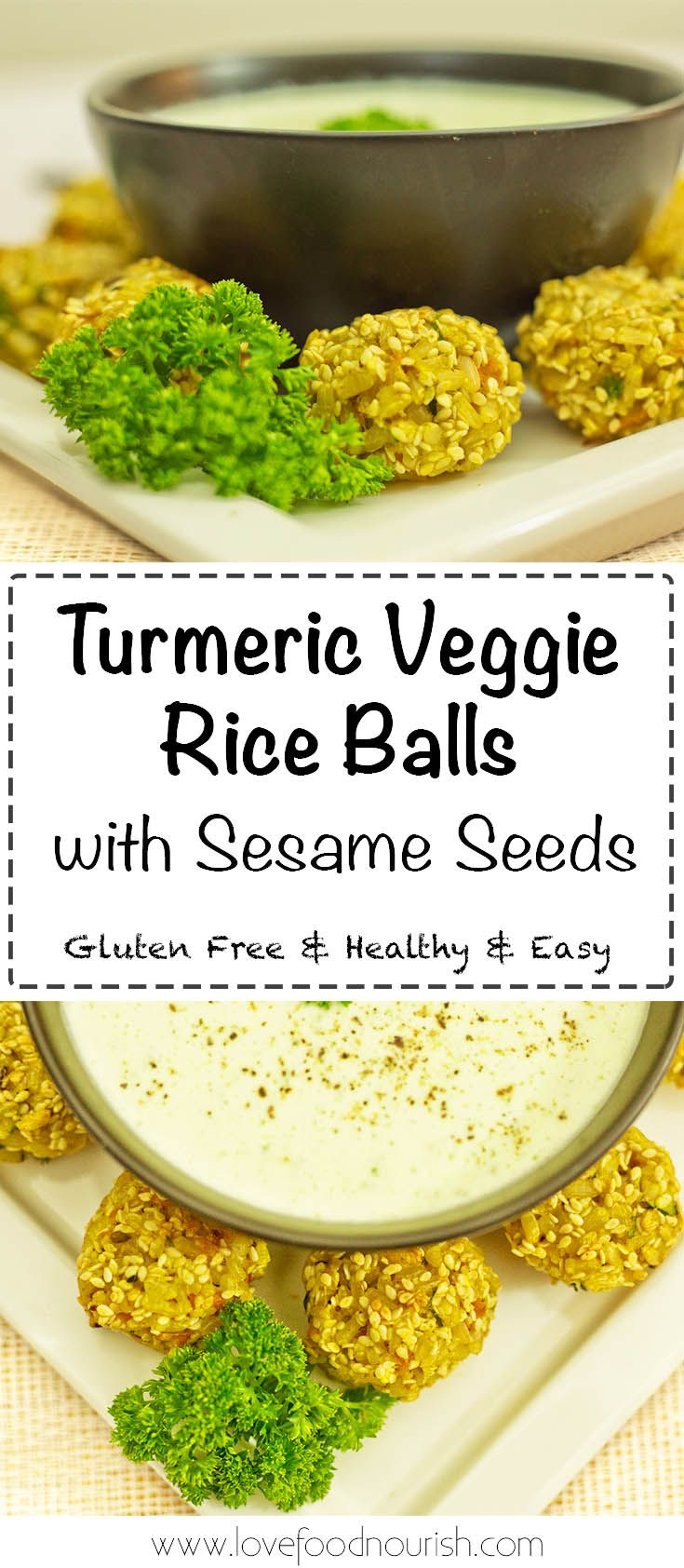 Turmeric Veggie Rice Balls with Sesame Seeds - A tasty gluten free appetizer or healthy snack for kids, can easily go into lunchboxes. Gluten Free & Dairy Free.