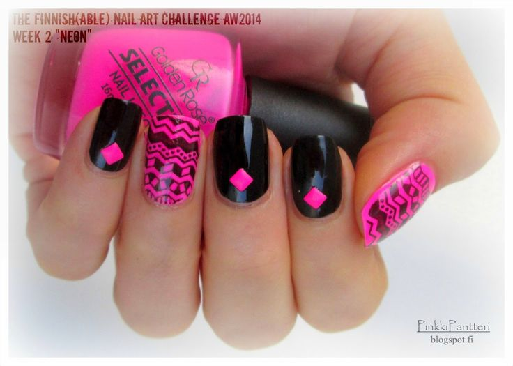 "PinkkiPantteri: The Finnish(able) Nail Art Challenge AW 2014 ~ Week 2 ""Neon"""