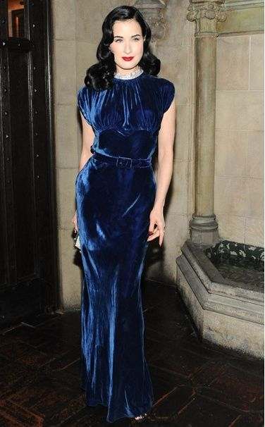 Dita in a 1930s vintage gown at the Dior Beauty's pre–Golden Globes dinner at Chateau Marmont, Los Angeles