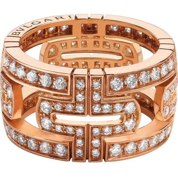 bvlgari parentesi 18kt pinkgold and pavdiamond ring