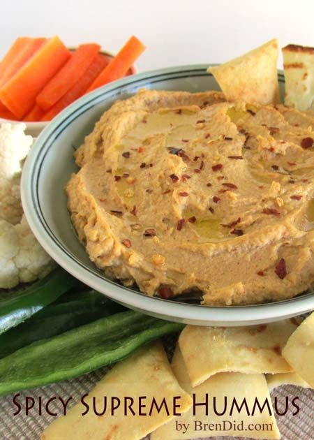 Spicy Supreme Hummus - In the mood for something spicy? Here's a healthy and delicious choice!