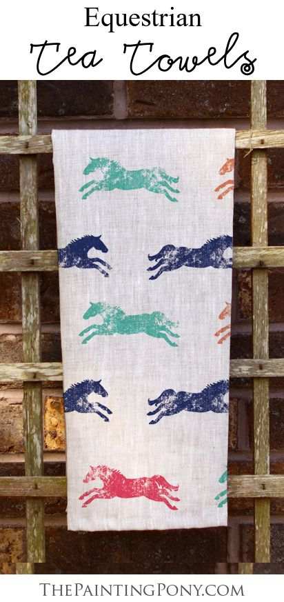 Equestrian tea towels! - horse lover home decor - so cute and fun for the kitchen or guest bathroom. Also a great housewarming gift for anyone who enjoys horseback riding and horses.