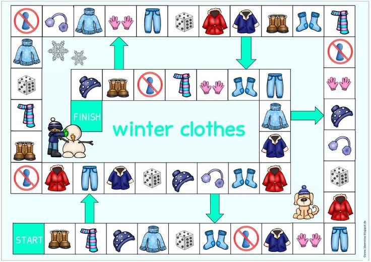 """Spielfeld """"winter clothes""""    Zum Englischthema """"winter clothes"""" habe ich nun auch das passende Spielfeld dazu erstellt. Die Datei  enthält..."""