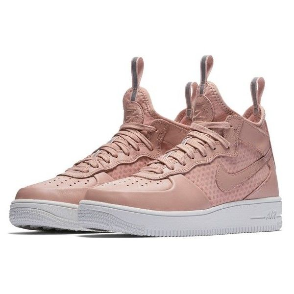 Women's Nike Air Force 1 Ultraforce Mid Sneaker ($110) ❤ liked on Polyvore featuring shoes, sneakers, nike shoes, stretch sneakers, mesh shoes, nike footwear and studs shoes