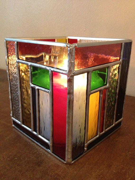 multiple color stained glass holder by RyansStainedGlass on Etsy, $30.00