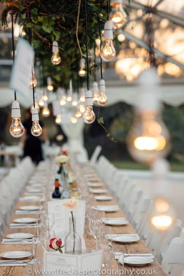 Stunning decorations in our clear roof wedding marquee. Beautiful by day or night.