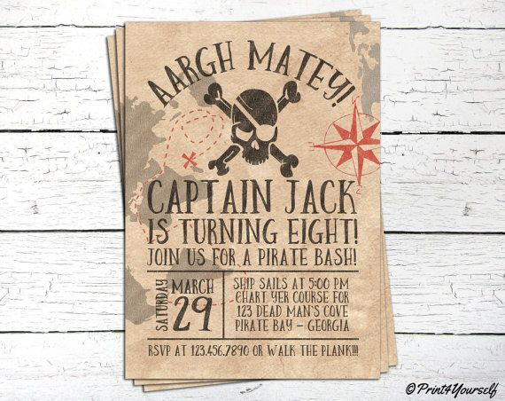 Pirate Invitation // Personalized Printable Old by Print4Yourself
