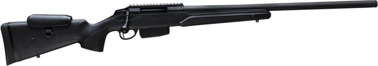 Tikka T3x TAC The tuned accuracy, heavy barrel, and smooth action are standard fare when it comes to Tikka. The adjustable check rest, fancy recoil pad, integrated picatinny rail, and 5/6 round magazine are what really set this rifle apart from the pack. The T3x is available in .223 Rem, .300 Win Mag, and .308 Win.