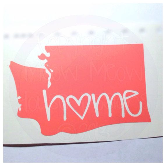 Washington or any other state Home State Love Decal - Cute Custom Decal for Car or Tablet Ipad -State Pride - State Love - 4 in Sticker