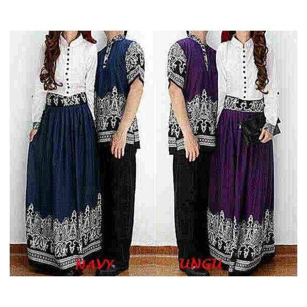 Baju Gamis Modern Terbaru - Gamis Couple Batik Shantina CP030 desain yang simple pastinya disukai pasangan remaja. perpaduan antara katun rayon putih dengan rok maxi yang di permanis