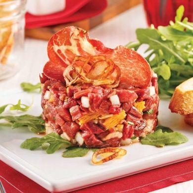 Les magrets de canard font d'excellents tartares! Les échalotes frites ajoutent finesse et croquant!