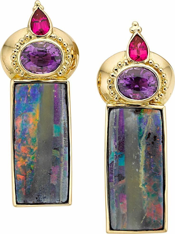 The earrings, from the Beyond Color Collection, feature rectangle-shaped boulder opals measuring 26.00 x 12.00 mm and weighing a total of 27.48 carats, enhanced by oval-shaped amethyst weighing a total of 3.72 carats, accented by pear-shaped spinel weighing a total of 1.22 carats, set in 18k gold, completed by omega clip backs, maker's mark for Paula Crevoshay. Gross weight 27.93 grams.