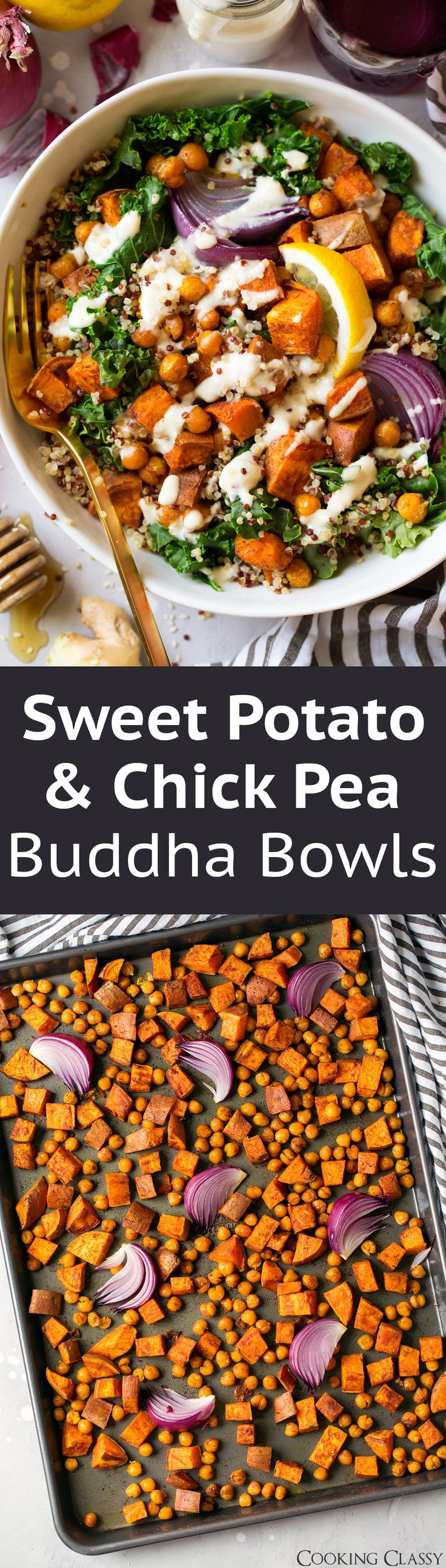 Sweet Potato and Chick Pea Buddha Bowls with Ginger Tahini Sauce via @cookingclassy