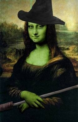 Mona Lisa as the Wicked Witch of the West, pop art, Wizard of Oz.