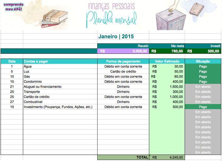 Planilha para controlar finanças pessoais
